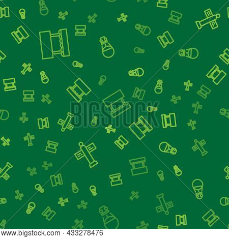 Set Line Ticket Box Office, Road Traffic Signpost And Hot Air Balloon On Seamless Pattern. Vector