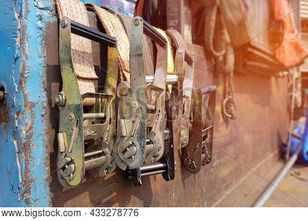 Nylon Strap For Cargo Of Transportation With Truck Keep Row Concept On Steel Pickup Truck
