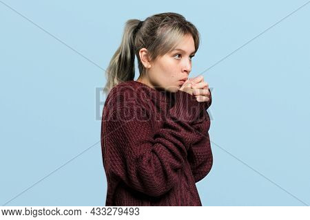 Woman in a wine red sweater