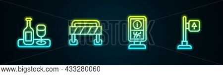 Set Line Wine Bottle With Glass, Road Barrier, Information Stand And Traffic Signpost. Glowing Neon