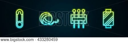 Set Line Safety Pin, Yarn Ball, Needle For Sewing And Sewing Thread On Spool. Glowing Neon Icon. Vec