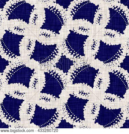 Seamless Indigo Circle Texture. Blue Woven Boro Cotton Dyed Effect Background. Japan Repeat Batik Re