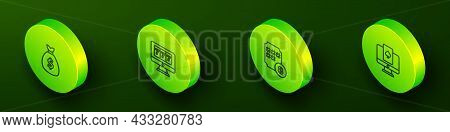 Set Isometric Line Money Bag, Online Slot Machine With Jackpot, Lottery Ball Bingo Card And Poker Ta