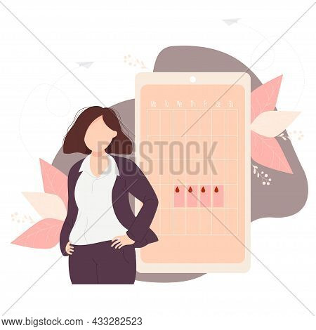 Businesswomen In Suit Looks At The Calendar Of Womens Health And Menstruation On The Phone Screen. V