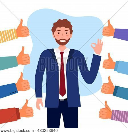People Approval Praise Happy Businessman. Male Manager Or Employee Proud Of Himself And Confident. H
