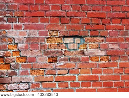 Old Weathered Brick Wall, Close Up, Russia.