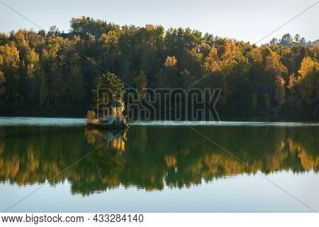 Amazing Autumn View With A Beautiful Gazebo On An Island In The Middle Of A Mountain Lake, Golden Tr