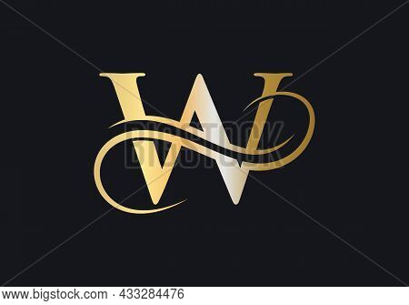 W Letter Initial Luxurious Logo Template. W Logo Golden Concept. W Letter Logo With Golden Luxury Co