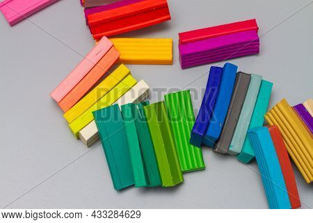 Pieces Of Multi-colored Plasticine For Modeling And Modeling By Children.