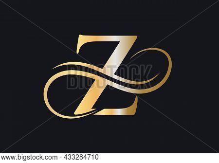 Z Letter Initial Luxurious Logo Template. Premium Z Logo Golden Concept. Z Letter Logo With Golden L