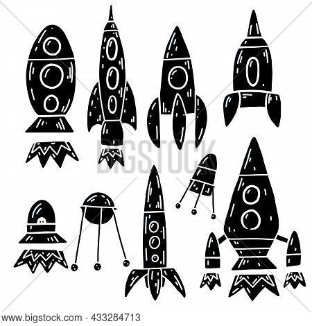Set Of Black Print With Contour Space Ships And Ufo. Outline Technological Ships. Vector Childish Si