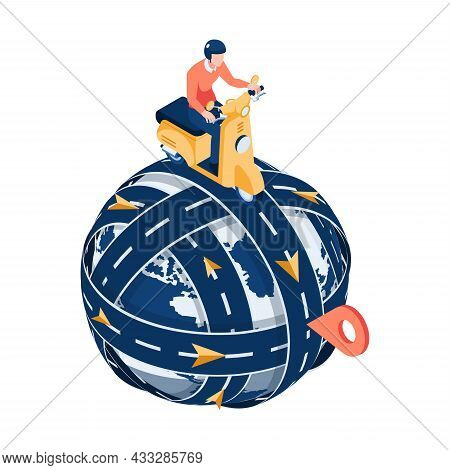 Flat 3d Isometric Man Ride Motorcycle On The Road Circled Around The World With Gps Pin. Gps Map Nav