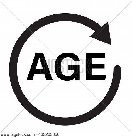 Age Icon On White Background. Age Limit Sign. Age Symbol. Reliability Logo. Flat Style.