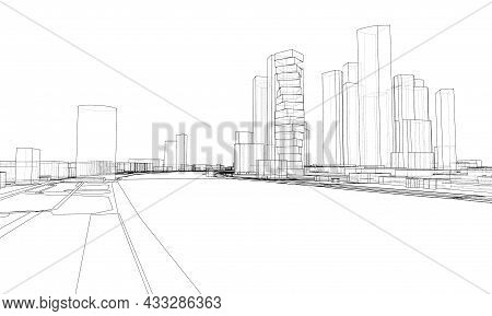 Vector Lines Buildings And City Roads, Town Design. Vector Rendering Of 3d. Wire-frame Style. The La