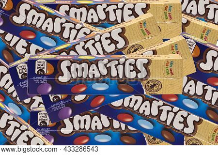 Swindon, Uk - September 17, 2021: Tubes Of Smarties In The New 100% Recyclable Paper Packaging