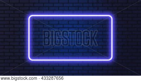 Neon Frame For Your Design. Lights Sign. Abstract Neon Background For Signboard Or Billboard. Geomet