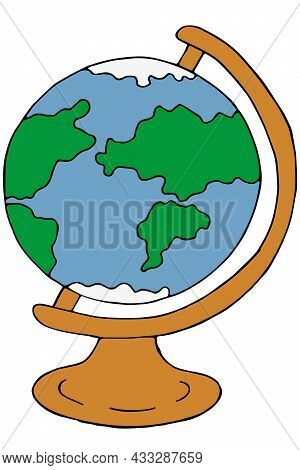 Table Globe For Geography Lessons, Color Vector Illustration In Doodle Style With Black Outline