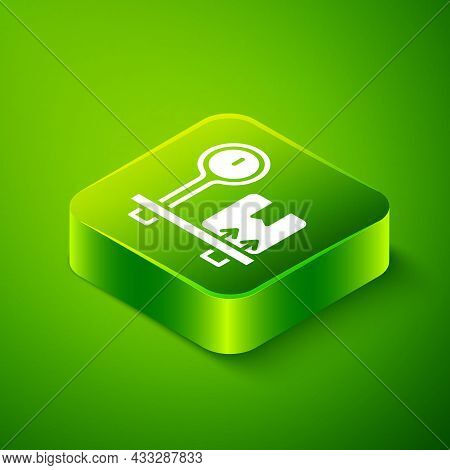 Isometric Scale With Cardboard Box Icon Isolated On Green Background. Logistic And Delivery. Weight