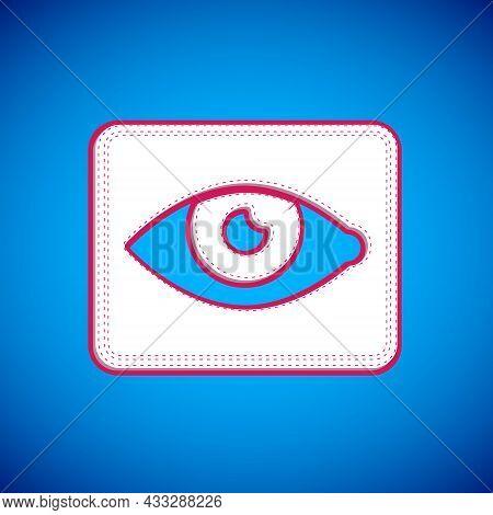 White Red Eye Effect Icon Isolated On Blue Background. Eye Redness Sign. Inflammatory Disease Of Eye
