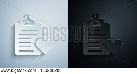 Paper Cut Medical Clipboard With Clinical Record Icon Isolated On Grey And Black Background. Prescri