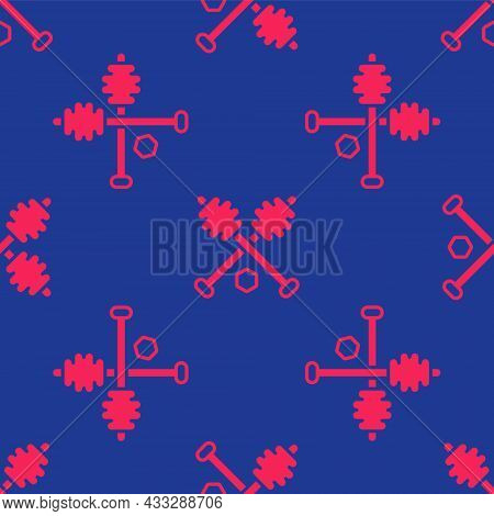 Red Honey Dipper Stick Icon Isolated Seamless Pattern On Blue Background. Honey Ladle. Vector