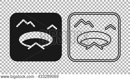 Black Winter Fishing Icon Isolated On Transparent Background. Round Ice Frame. Hole In Ice. Vector