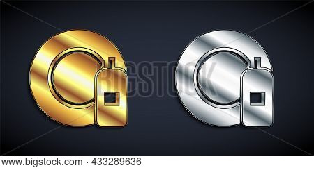 Gold And Silver Dishwashing Liquid Bottle And Plate Icon Isolated On Black Background. Liquid Deterg