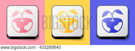 Isometric Apple Icon Isolated On Pink, Yellow And Blue Background. Excess Weight. Healthy Diet Menu.
