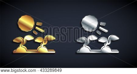 Gold And Silver Plant Sprouts Grow In The Sun Icon Isolated On Black Background. Seedling Concept. L