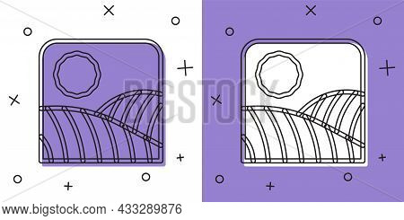 Set Agriculture Wheat Field Farm Rural Nature Scene Landscape Icon Isolated On White And Purple Back