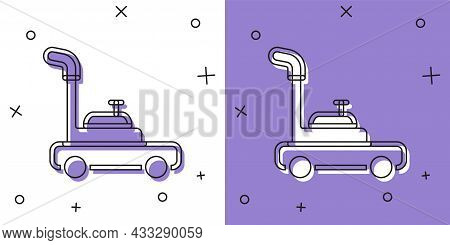 Set Lawn Mower Icon Isolated On White And Purple Background. Lawn Mower Cutting Grass. Vector