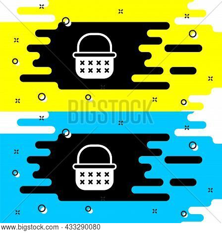White Wicker Basket Icon Isolated On Black Background. Vector