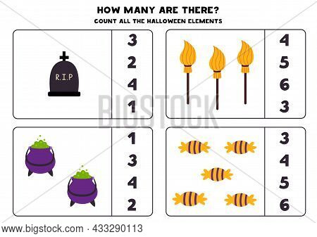 Count All Halloween Elements And Circle The Correct Answers. Math Game For Kids.