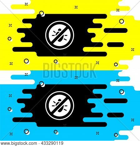 White Stop Colorado Beetle Icon Isolated On Black Background. Vector