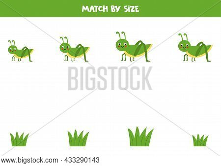 Match Grasshoppers And Grass By Size. Educational Logical Game For Kids.