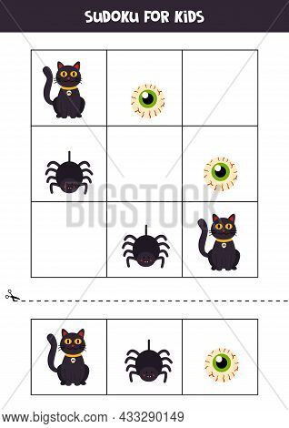 Sudoku With Three Pictures For Preschool Kids. Logical Game With Halloween Elements.
