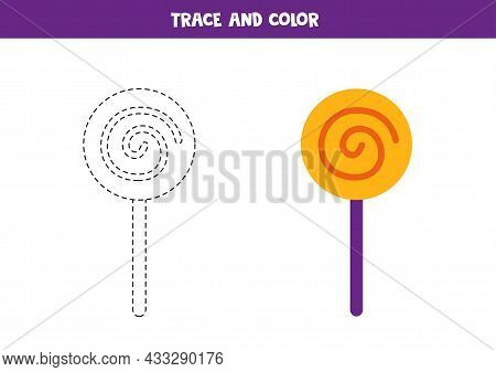 Trace And Color Cute Halloween Lollipop. Educational Game For Kids. Writing And Coloring Practice.