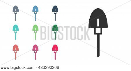 Black Shovel Icon Isolated On White Background. Gardening Tool. Tool For Horticulture, Agriculture,