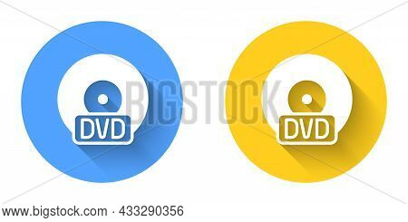 White Cd Or Dvd Disk Icon Isolated With Long Shadow Background. Compact Disc Sign. Circle Button. Ve
