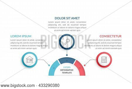 Infographic Template With 3 Steps Or Options With Place For Your Icons And Text, Workflow, Process C