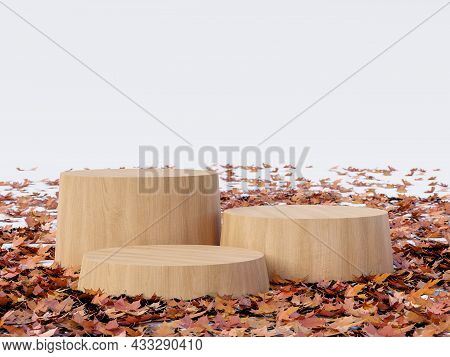 Autumn Concept Empty Cylinder Wooden Podium Surrounded By Fallen Leaves On White Background 3d Rende