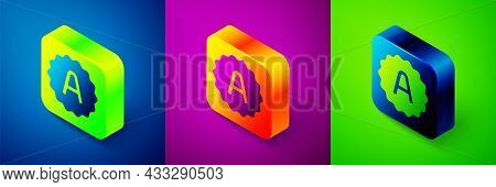 Isometric Exam Sheet With A Plus Grade Icon Isolated On Blue, Purple And Green Background. Test Pape