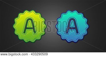 Green And Blue Exam Sheet With A Plus Grade Icon Isolated On Black Background. Test Paper, Exam, Or