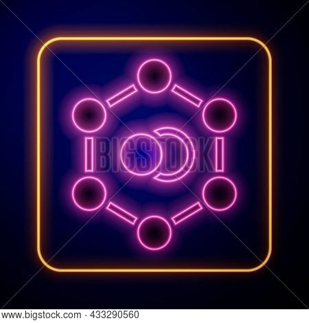 Glowing Neon Molecule Icon Isolated On Black Background. Structure Of Molecules In Chemistry, Scienc