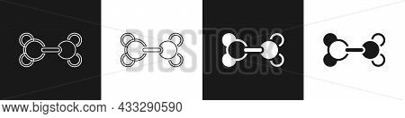 Set Molecule Icon Isolated On Black And White Background. Structure Of Molecules In Chemistry, Scien