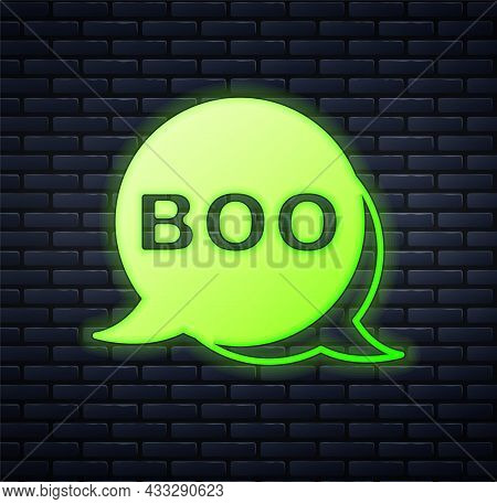 Glowing Neon Boo Speech Bubble Icon Isolated On Brick Wall Background. Happy Halloween Party. Vector