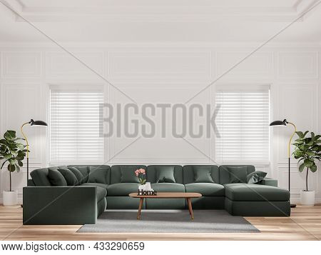 Luxurious Living Room With Blank White Classic Walls 3d Render.the Rooms Have Wooden Floors Decorate