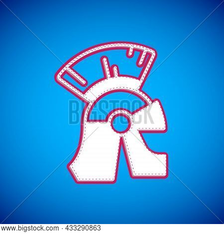 White Roman Army Helmet Icon Isolated On Blue Background. Vector