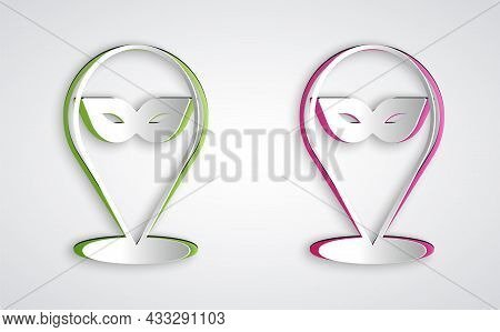 Paper Cut Carnival Mask Icon Isolated On Grey Background. Masquerade Party Mask. Paper Art Style. Ve