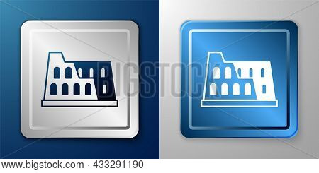 White Coliseum In Rome, Italy Icon Isolated On Blue And Grey Background. Colosseum Sign. Symbol Of A